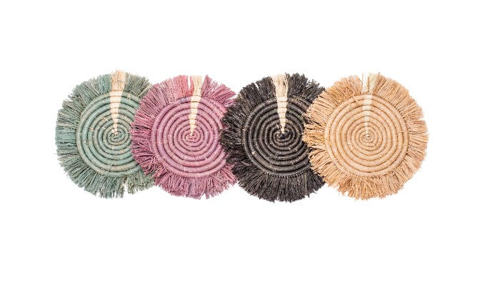 Lilac + Neutrals Fringed Raffia Coasters, Set of 4 - KAZI - Artisan made high quality home decor and wall art