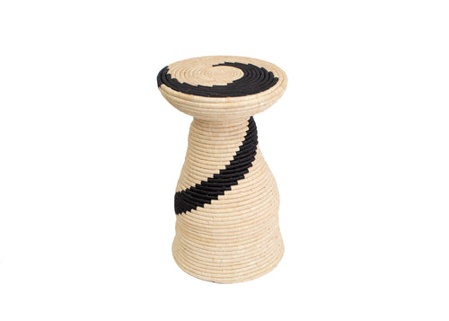 Tall Swirled Black + Natural Raffia Side Table