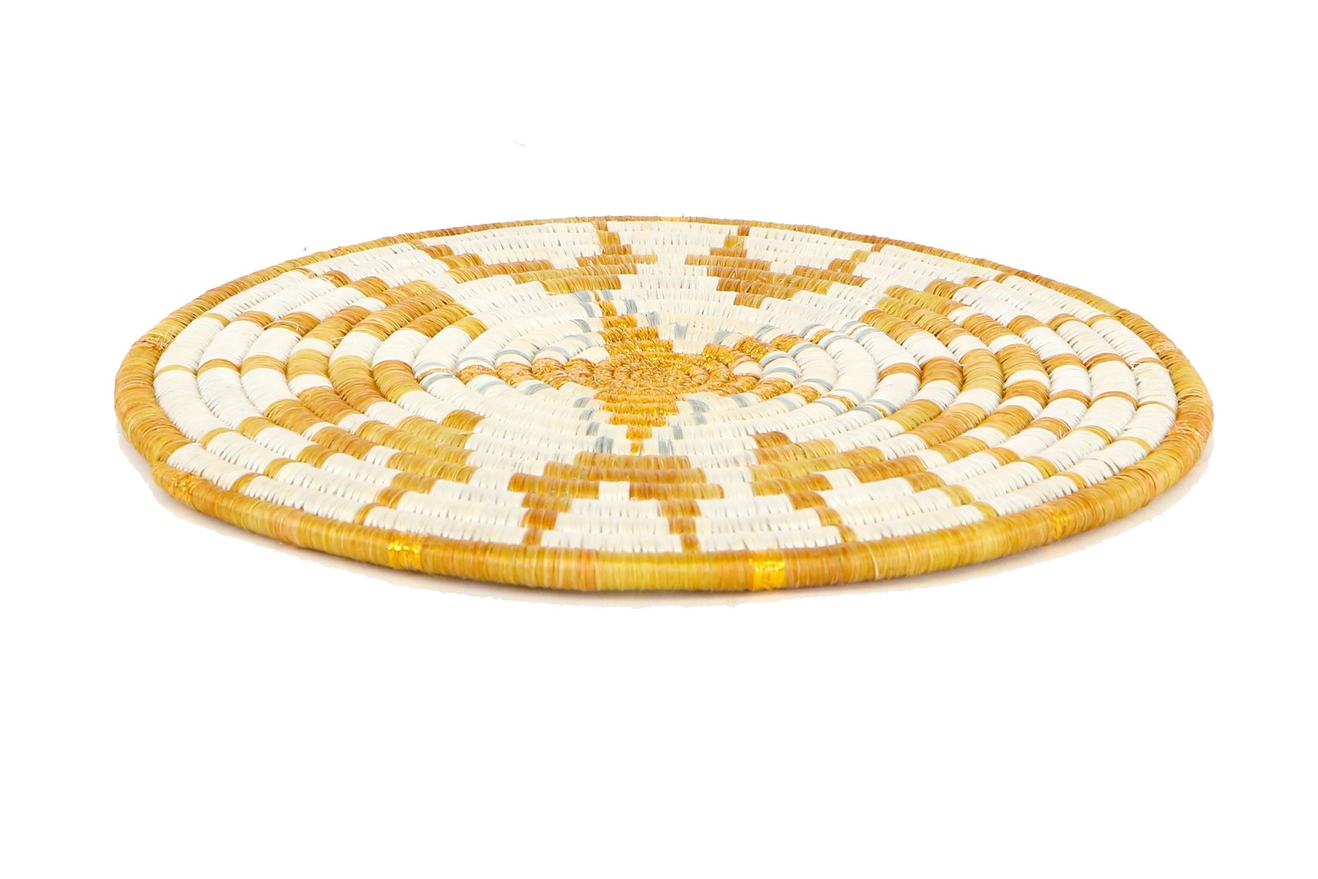 "10"" Zahabu Metallic Gold Hot Pad (M) - KAZI - Artisan made high quality home decor and wall art"