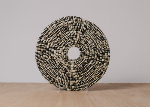 Heathered Black + White Raffia Trivet