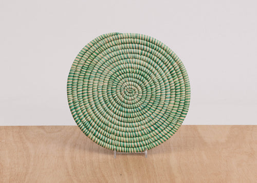Heathered Paradise Blue Raffia Trivet