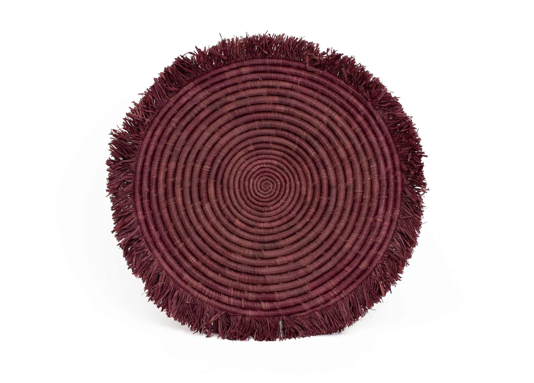 "15"" Burgundy Large Fringed Charger - KAZI"