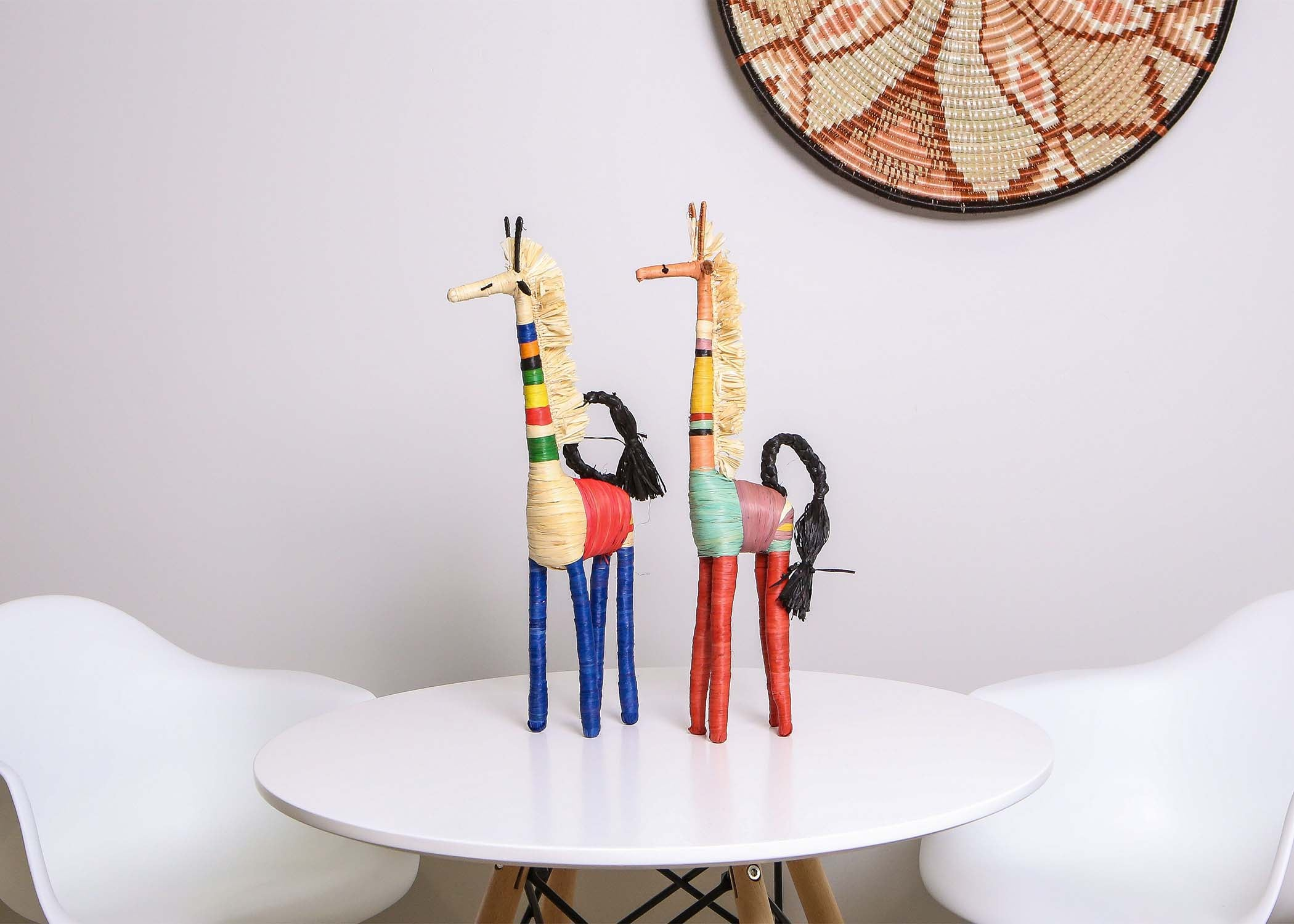 Colorful Raffia Giraffe Shelf Decor - KAZI - Artisan made high quality home decor and wall art