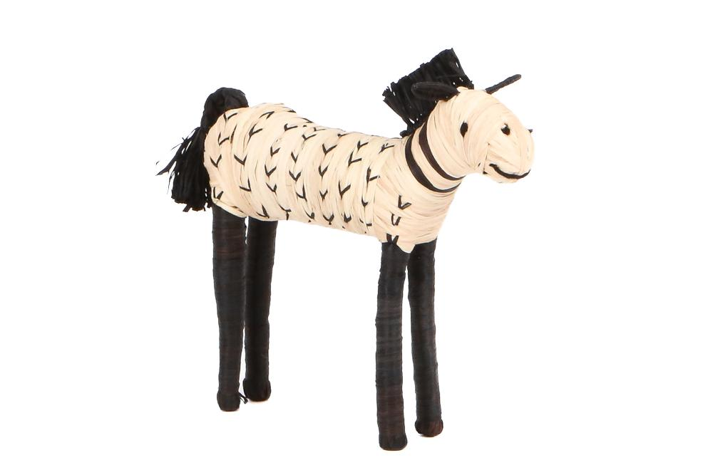 Black + Natural Raffia Horse Shelf Decor - KAZI