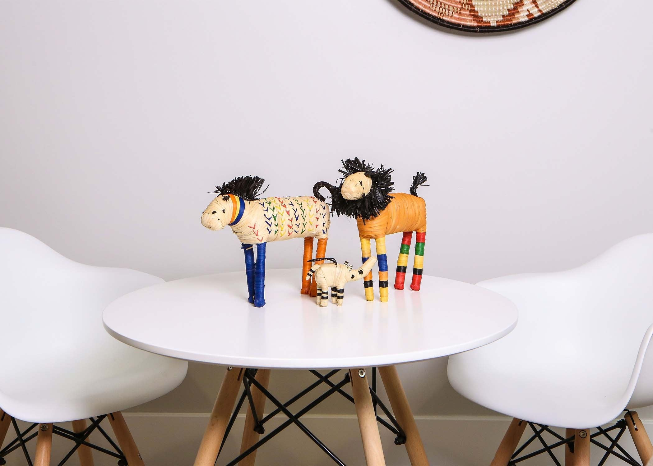 Primary Colors Raffia Horse Shelf Decor - KAZI - Artisan made high quality home decor and wall art