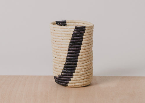 Medium Black Striped Raffia Cup
