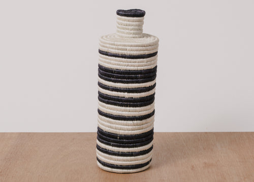 Black + White Striped Tall Vase