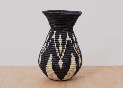 Black + White Plumped Vase
