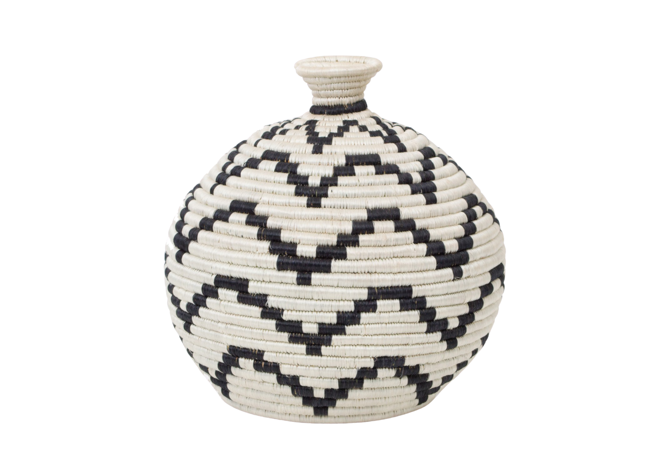 Zig Zag Black + White Vase - KAZI - Artisan made high quality home decor and wall art