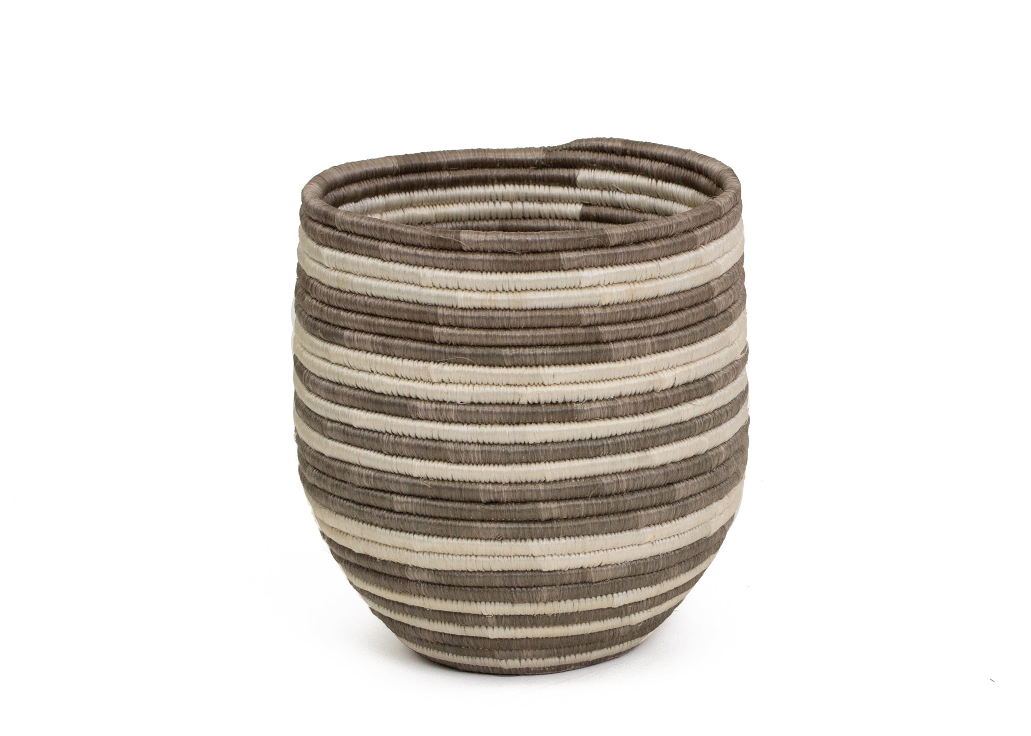 Light Taupe Striped Dunia Vase - KAZI - Artisan made high quality home decor and wall art