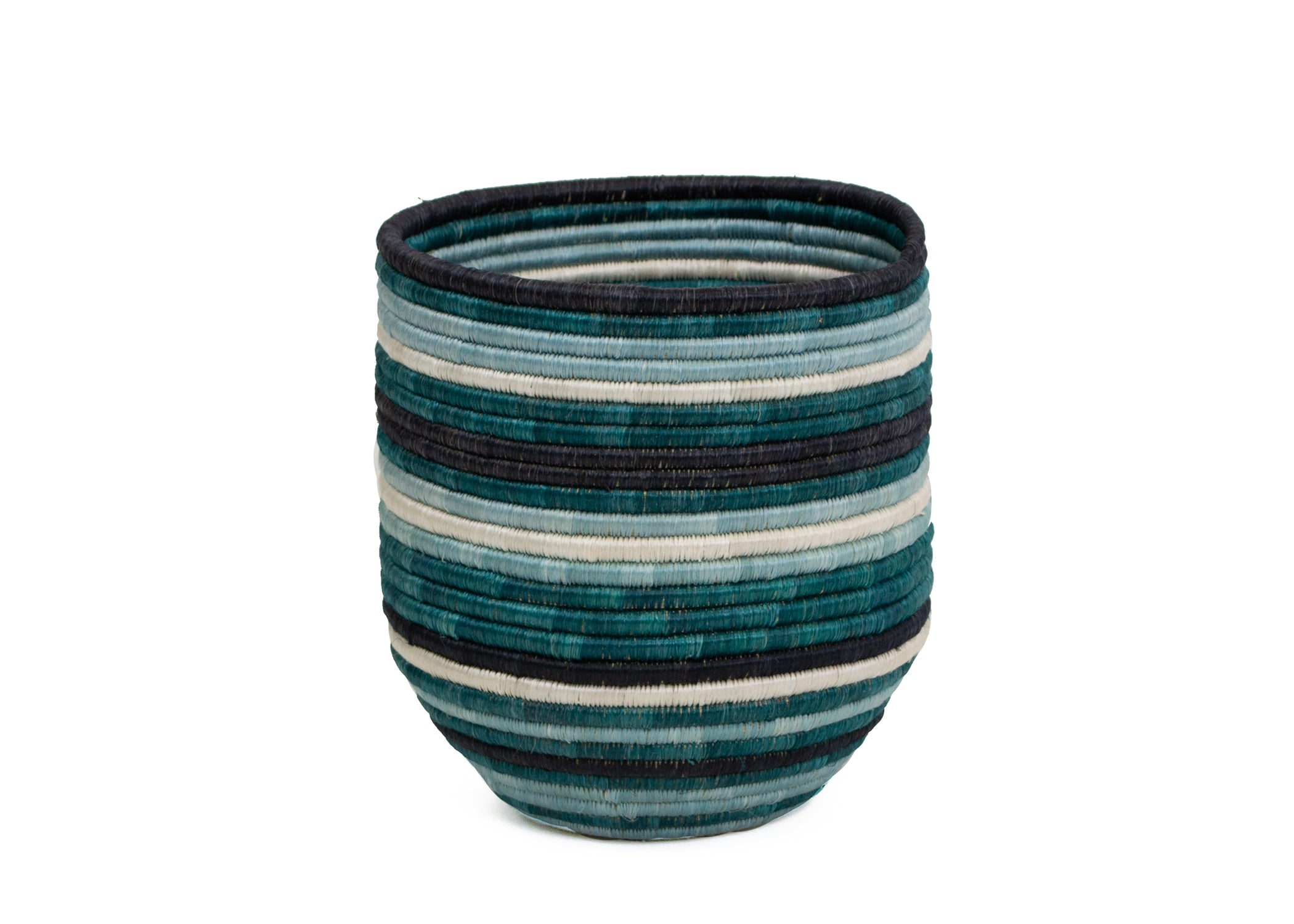 Teal + Black Striped Dunia Vase - KAZI - Artisan made high quality home decor and wall art