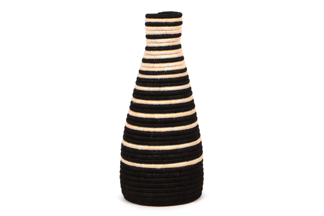 Black Striped Tall Vase - KAZI - Artisan made high quality home decor and wall art
