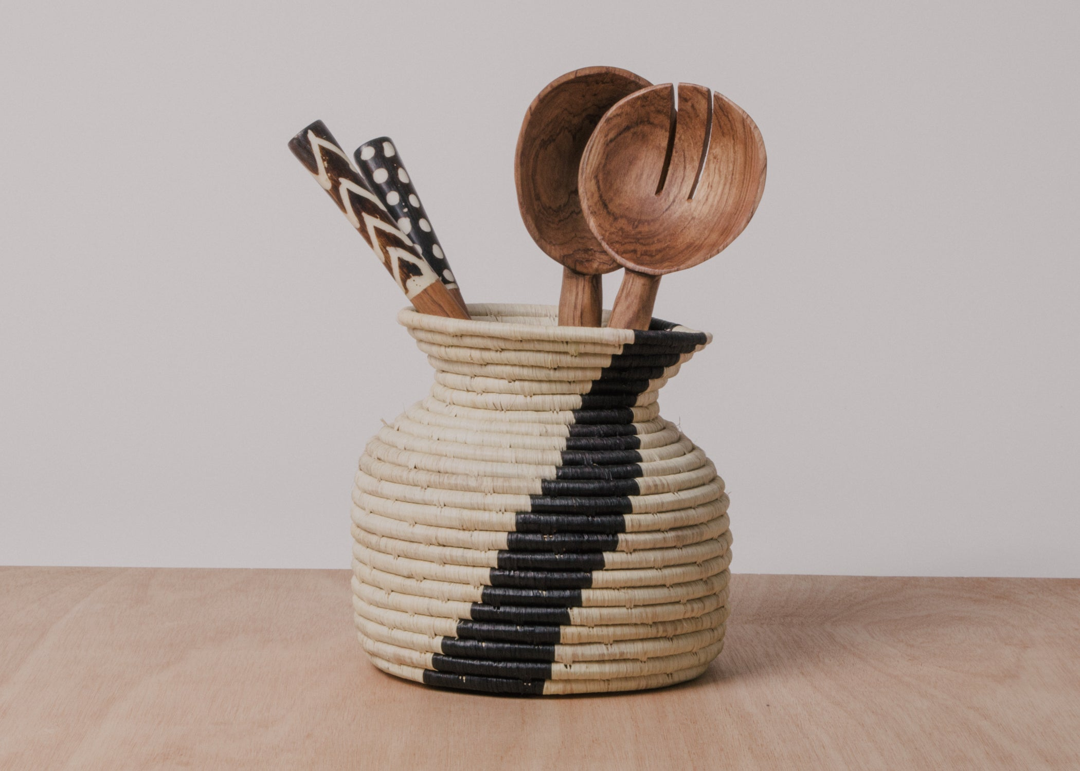 Striped Kitchen Utensil Holder - KAZI - Artisan made high quality home decor and wall art