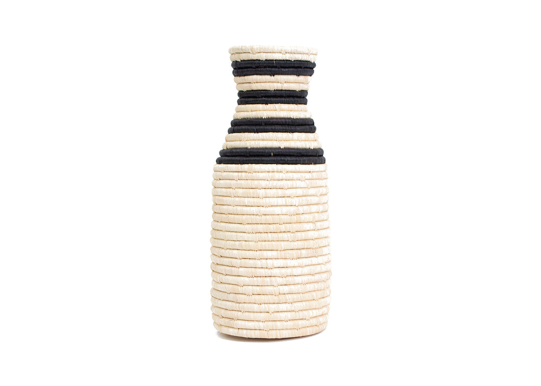 Striped Black  Raffia Milk Bottle Vase - KAZI