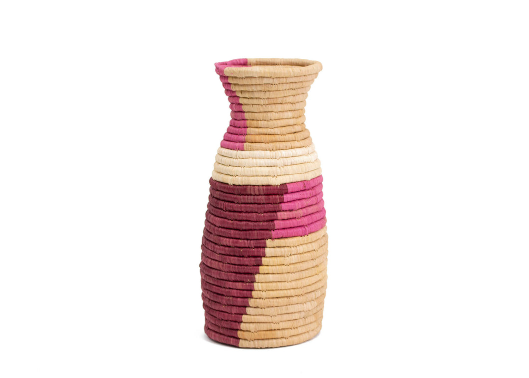 Rosette Color Blocked Vase - KAZI - Artisan made high quality home decor and wall art