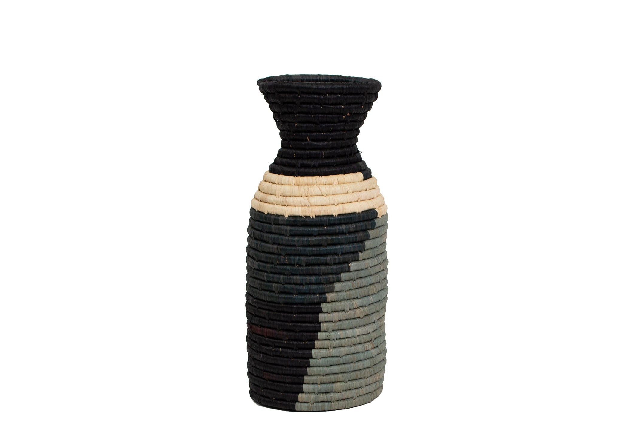 Opal Gray Color Blocked Milk Bottle Vase - KAZI - Artisan made high quality home decor and wall art