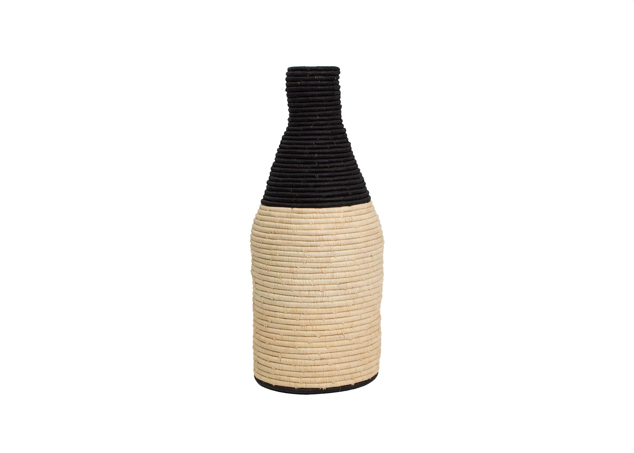 Black Malia Large Floor Vase - KAZI
