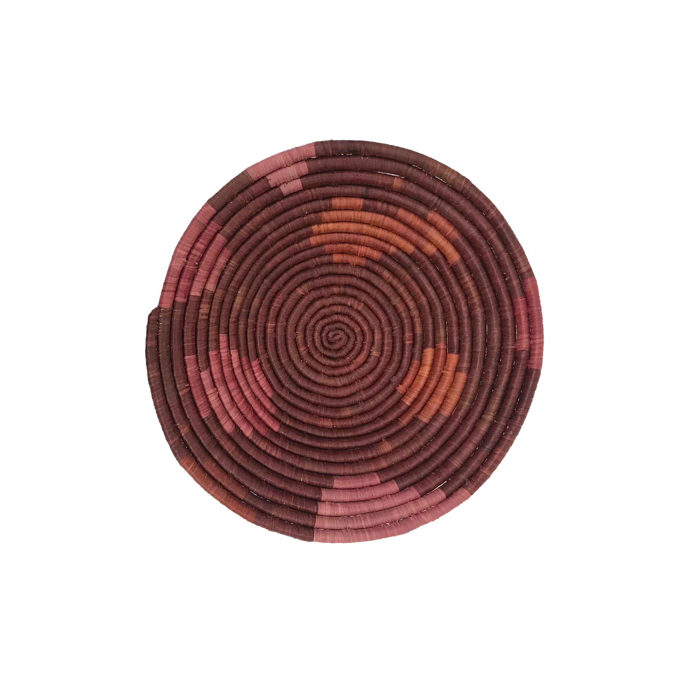 "10"" Medium  Merlot Sukari Round Basket - KAZI - Artisan made high quality home decor and wall art"