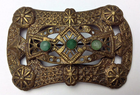 Large 1900's-1920's Art Nouveau/Art Deco Filigree Brooch with Jade