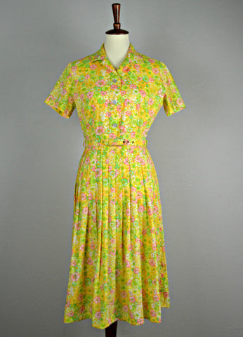 1950's Bright Floral Sundress with Original Belt
