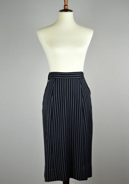 1940's Double Breasted Navy Blue Pinstripe Suit by Strauss of Grand Rapids