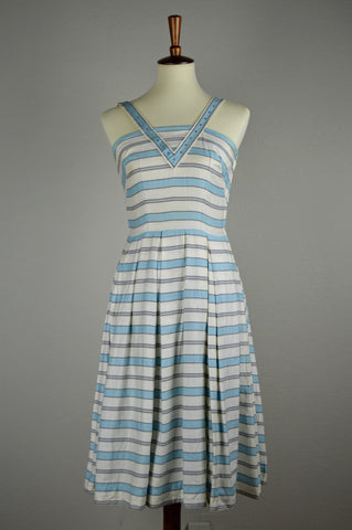 1950's Striped Alex Colman Day Dress with Rhinestone Victory V Neckline