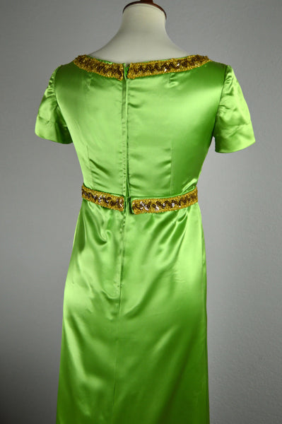 1960's Satin Green Rayon Evening Gown with Gold Trimmings
