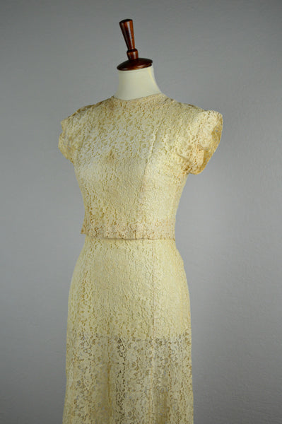 1940's Two Piece Lace Blouse and Skirt Set (As-is)