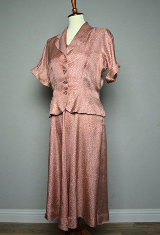 Late 1940's, Early 1950's Slinky Rayon Day Dress and Blouse/Jacket Set