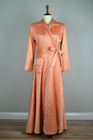 Peachy Pink Quilted Textron Dressing Gown Circa 1947/1948