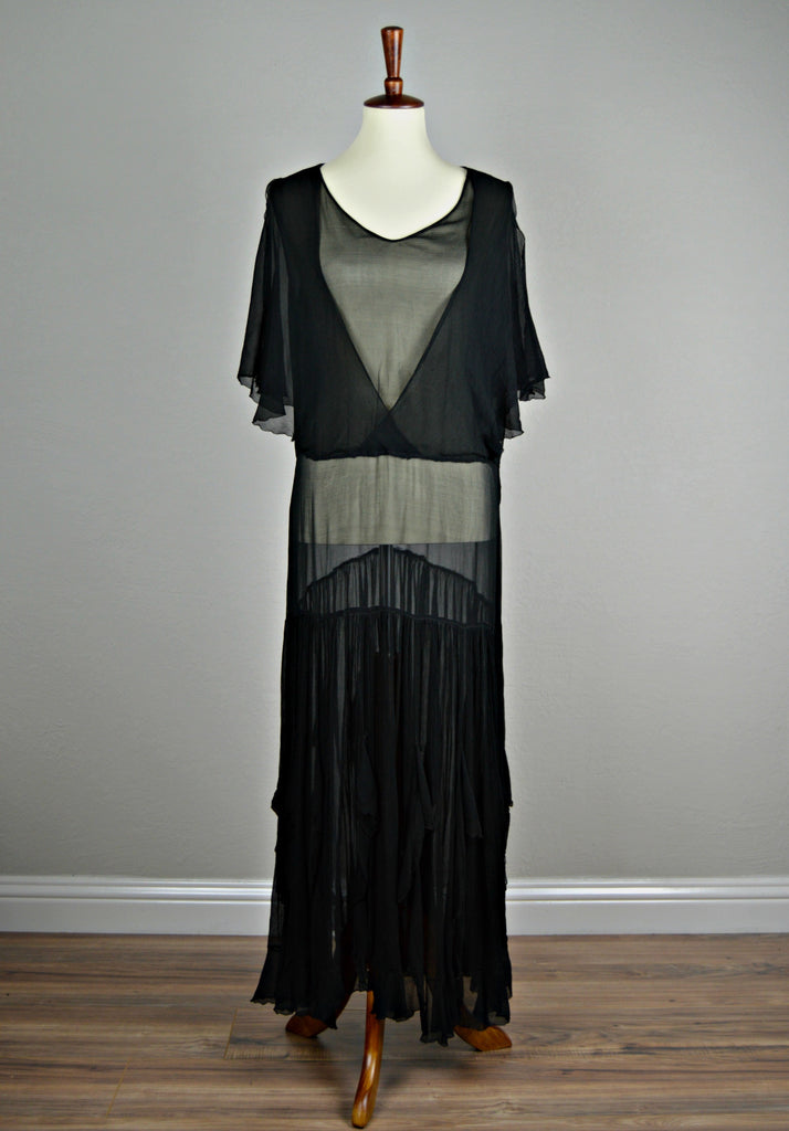 1920's/1930's Black Art Deco Silk Chiffon Evening Gown with Shoulder Cutouts