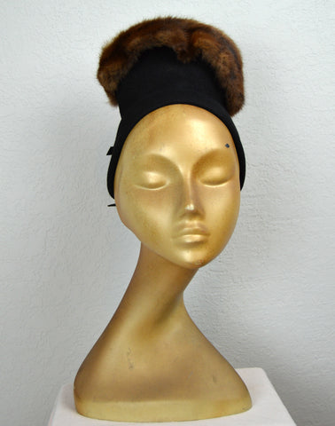 1940's Mallory Black Fur Felt Chimney Hat with Fur