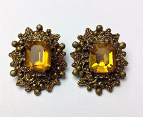 Art Deco 1930's/1940's/1950's Citrine Colored Clip On Earrings