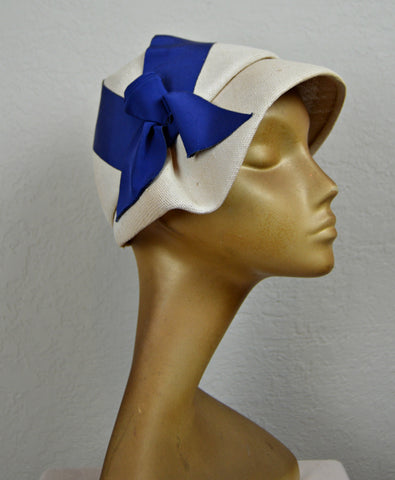 1930's White Equestrian Summer Hat with Cobalt Blue Bow by Parkridge Exclusives