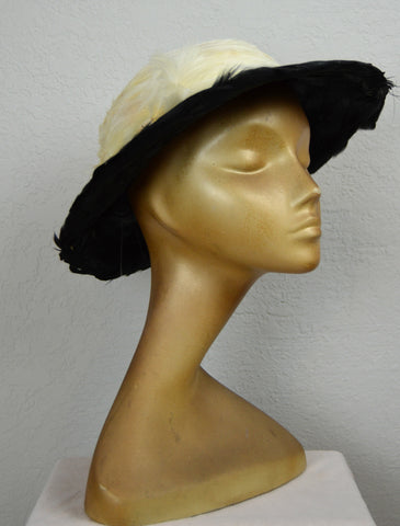 1940's Black and White Feather Hat