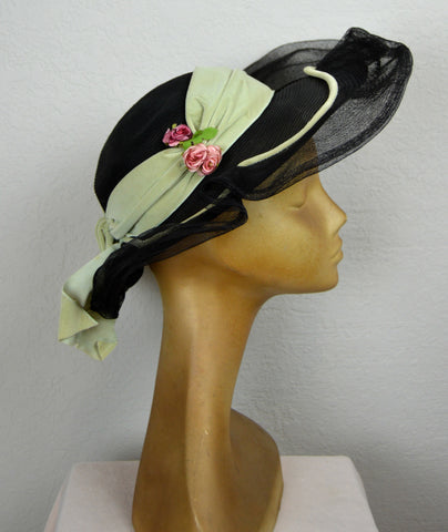 1930's Rickie Original by Berkley New York Hat with Green Velet Ribbon and Flowers