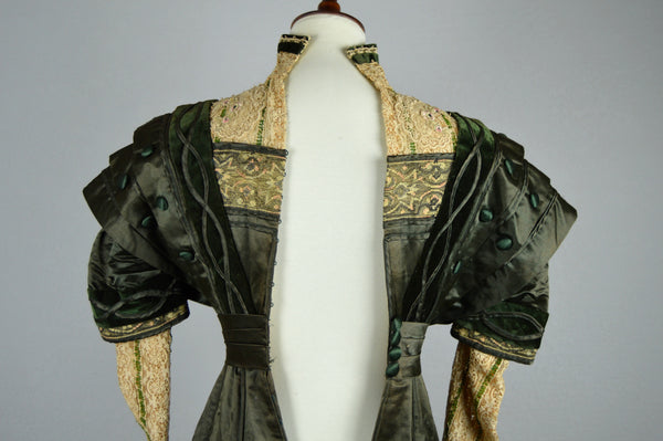 Edwardian Forest Green Silk and Lace Ornate Evening Gown Circa 1907-1910