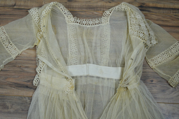 Lace Crochet and Net Tiered Lawn Dress Circa 1912-1916 (As-is)