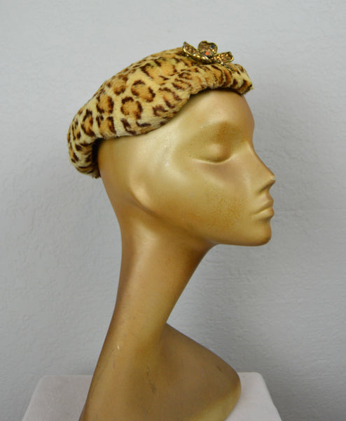 1950's Leopard Print Faux Fur Hat with Signed Weiss Clover Pin