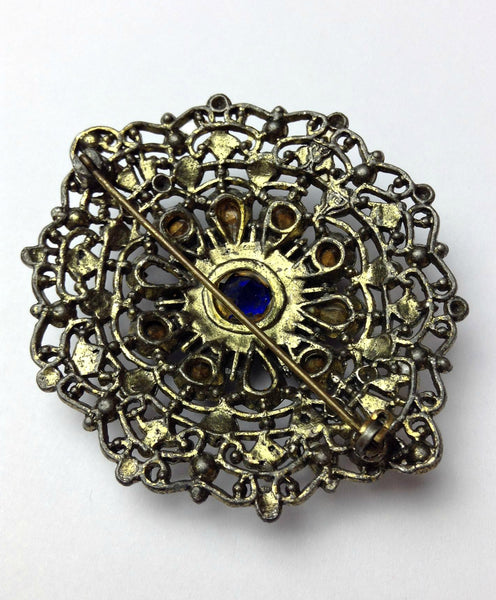 Large 1920's/1930's Art Deco Marcasite and Sapphire Colored Stones Brooch (As-is)