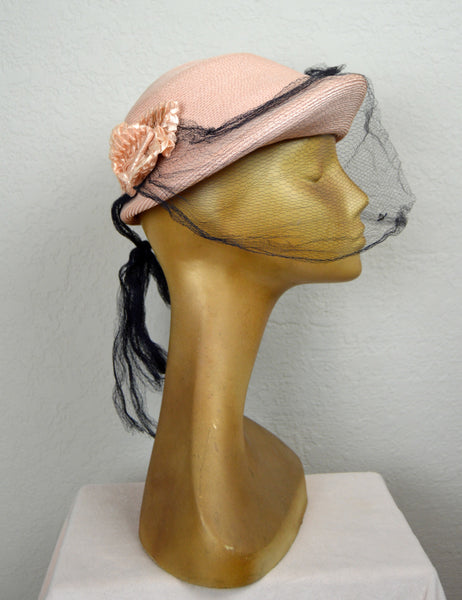 1940's Pink Hat with Navy Blue Veil and Flowers by Chez Henriette