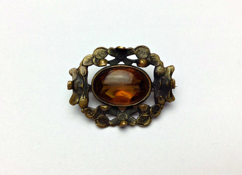 Small 1900's-1920's Art Nouveau/Art Deco Amber Colored Stone Brooch