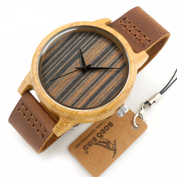 DAB Men Brown Wooden Rim Wrist Watch