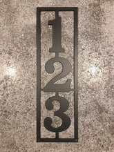 Vertical Metal House Number with 3 Numbers and Border