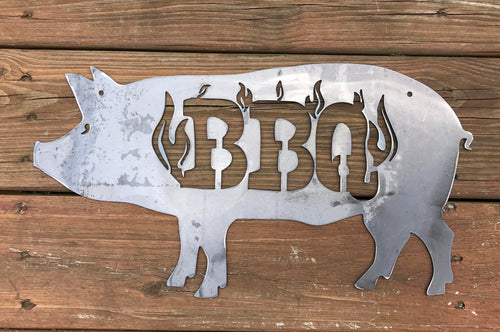 BBQ Pig Sign with Flames