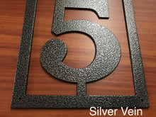 Vertical Metal House Number with 5 Numbers and Border