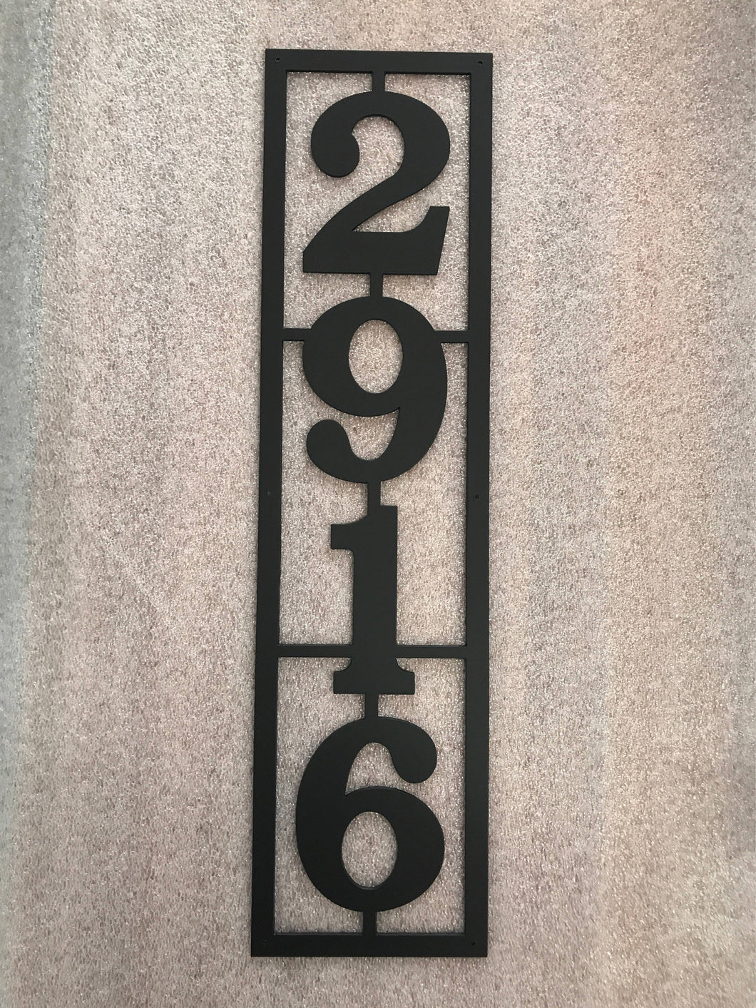 Vertical Metal House Number with 4 Numbers and Border