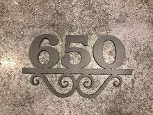 Metal House Number with 3 Numbers and Scrolls
