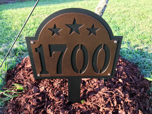 Metal House Number Stake with Stars
