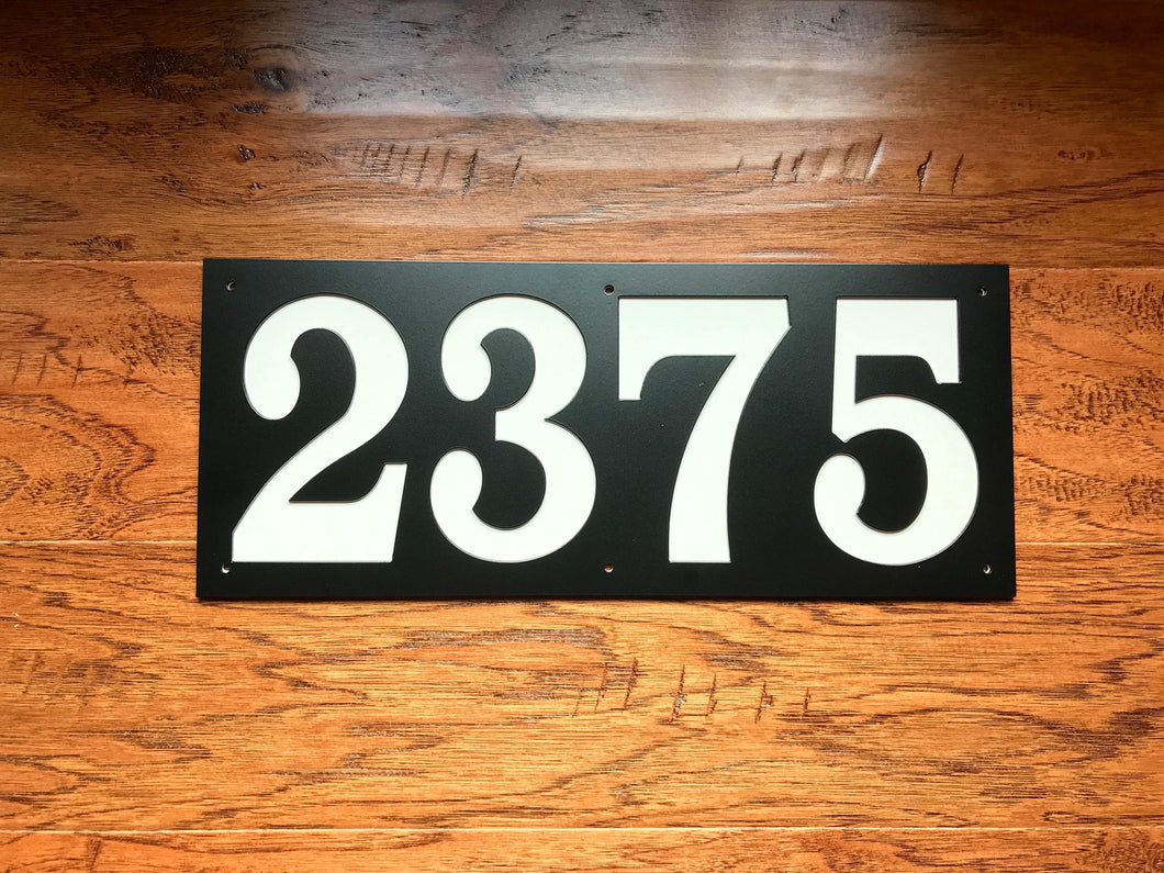 Rectangle Horizontal 4 Number Metal House Number with Back Plate
